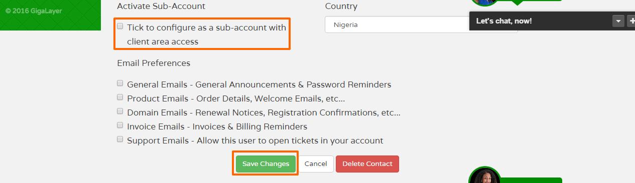 Activate Sub Account